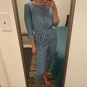 Chambray belted long sleeve jumpsuit